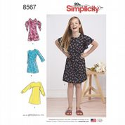 8567 Simplicity Pattern: Girls' Dresses with Plus Size Girls Option
